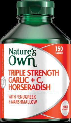 Triple Strength Garlic + C, Horseradish