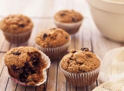 Bran, banana & blueberry muffins
