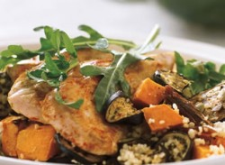 Cumin-crusted chicken & couscous salad