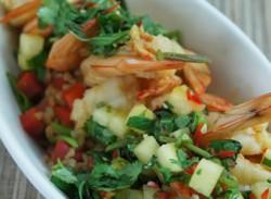 Chilli prawns with pineapple salsa